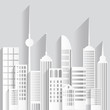 Abstract white paper skyscrapers on white background. Vector Illustration