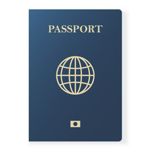Blue Passport Isolated On Whit...