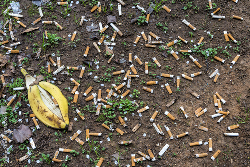 Fotografija  Cigarette Butts Litter Ground Near Busy Airport