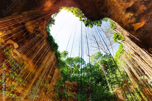 Poster Amérique Centrale Cenote with lovely opening in the form of heart