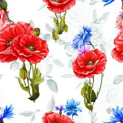 Fototapeta Maki Poppy with cornflowers and roses on background. Seamless background pattern of poppy flowers. Vector - stock.