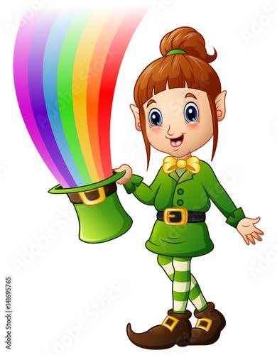 Deurstickers Regenboog Cartoon girl Leprechaun holding hat with magic rainbow