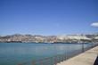Cargo port with port cranes. Sea bay and mountainous coast.