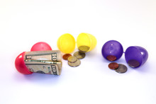 Assorted Easter Eggs Open With Money Inside