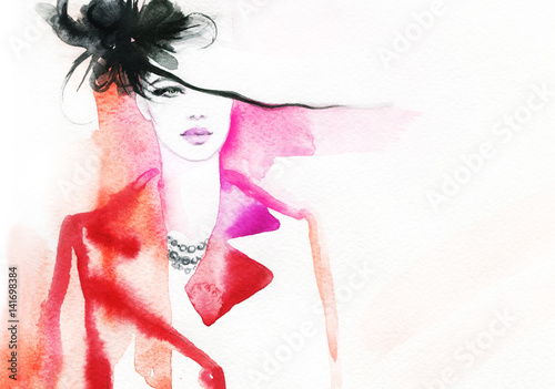 Poster Portrait Aquarelle Woman in coat. Street fashion style. Hand drawing illustration. Watercolor painting
