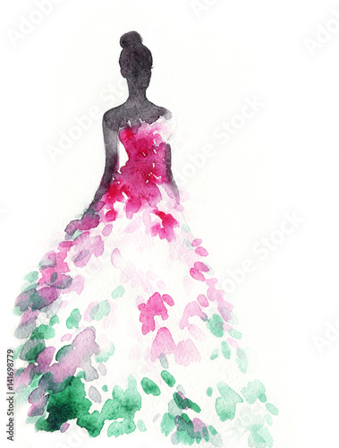 Recess Fitting Watercolor Face Woman in elegant dress. Fashion illustration. Watercolor painting