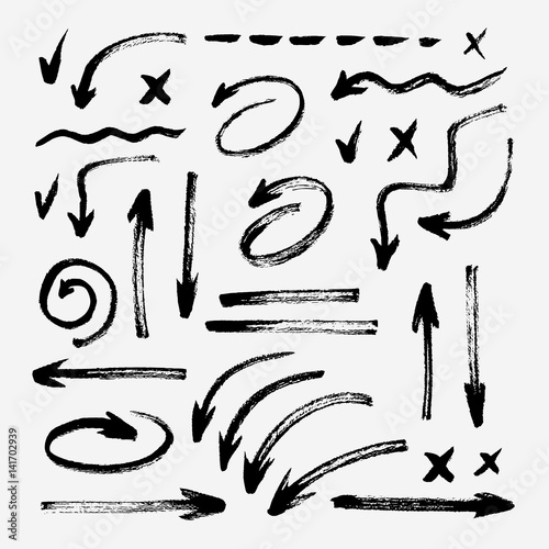 Fotomural Set of different hand drawn grunge brush strokes, arrows