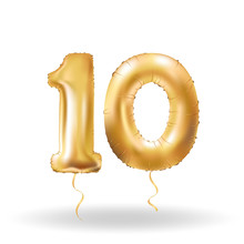 Number Ten Metallic Balloon
