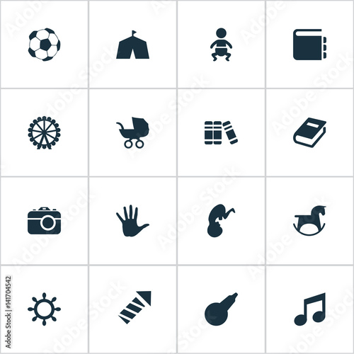 Vector Illustration Set Of Simple Infant Icons Poster