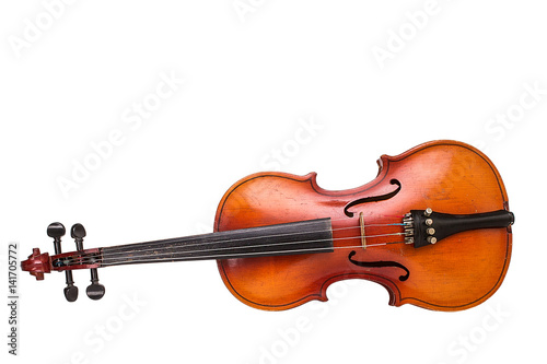 Obraz na plátně Old violin on white background