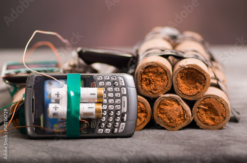 Photographie Close up shot of improvised explosive device bomb