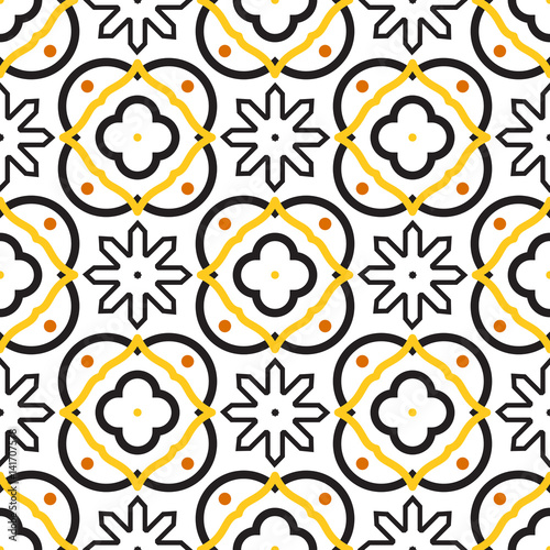 Azulejos black and white mediterranean seamless tile pattern Wallpaper Mural