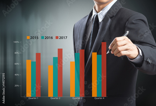 Fototapeta Businessman writing graph, year over year obraz na płótnie