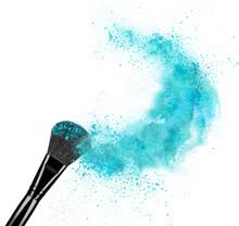 Make Up Brush With Powder Splash Isolated On White Background