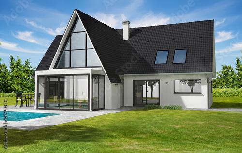 Belle maison contemporaine moderne avec veranda et piscine - Buy ...