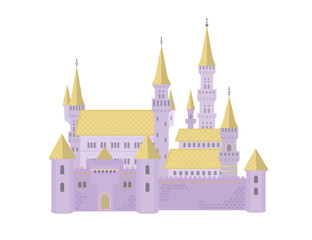 Lilac castle with a golden roof on a white background.