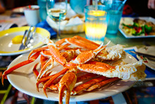 Plate With Crab Legs In A Restaurant In Key West Or New Orleans
