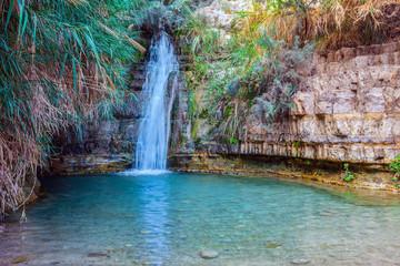Fototapeta The beautiful waterfall and small deep lake