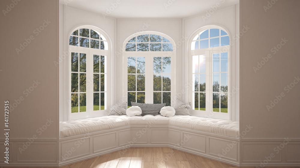 Fototapety, obrazy: Big window with garden meadow panorama, minimalist empty space, background classic interior design