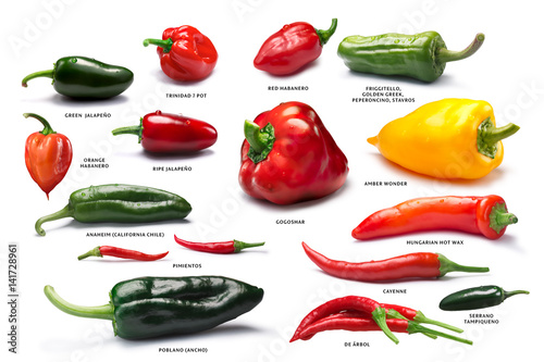 Spoed Foto op Canvas Hot chili peppers Set of pepper fruits, paths