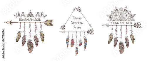 Fotografia, Obraz  Set of hand drawn boho style design with mandala, arrow and feathers