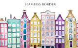 seamless illustration. Border, rim with house. oil painting on canvas, street of Amsterdam. modern Artwork.Colorful  Netherlands - 141731163