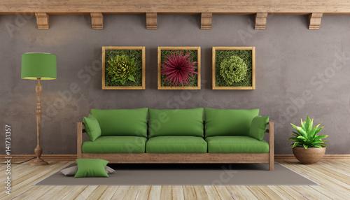 Retro Living Room With Green Sofa