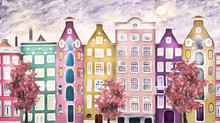 Oil Painting On Canvas, Street Of Amsterdam. Modern Artwork. House. Red Tree. Netherlands