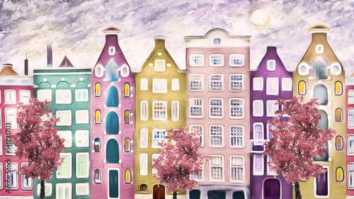 obraz olejny na płótnie, ulica Amsterdamu. nowoczesna grafika. dom. czerwone drzewo. Holandia
