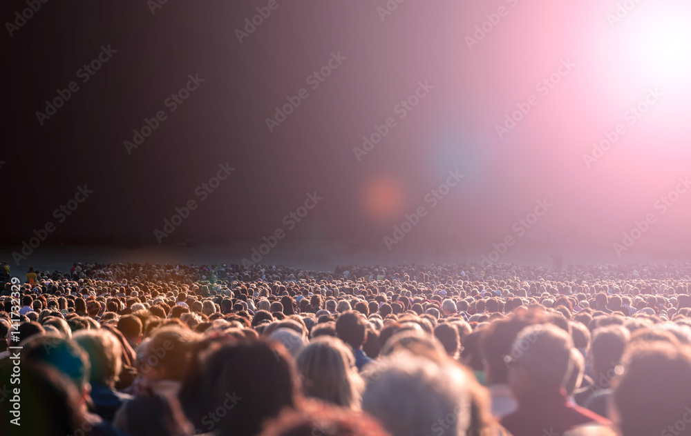 Fototapety, obrazy: Panoramic photo of large crowd of people. Slow shutter speed motion blur.