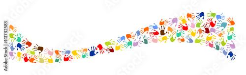 Fényképezés  Welle aus bunten Handabdrücken