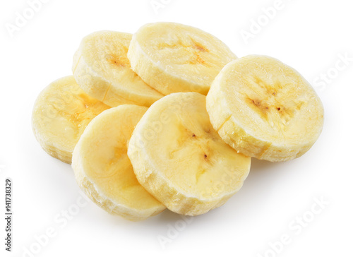 Banana slices isolated on white background. With clipping path.