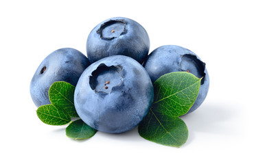 Blueberry. Fresh raw berries with leaves isolated on white background. With clipping path.