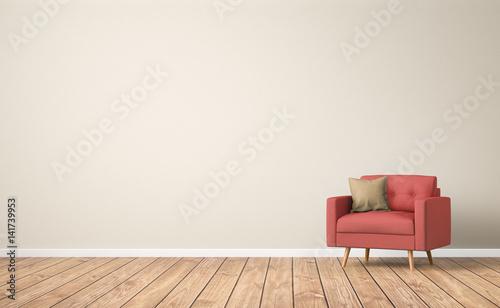 Fotografie, Obraz Sessel  im Raum / Wohnzimmer / Leere Wand / 3d