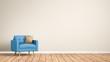 Leinwanddruck Bild - Sessel  im Raum / Wohnzimmer / Leere Wand / 3d