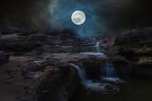 Waterfall In Night Of Full Moon.