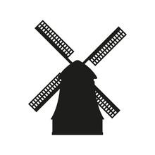 Windmill Icon. Vector Black Si...