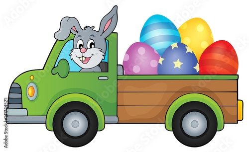 Printed kitchen splashbacks For Kids Truck with Easter eggs theme image 1