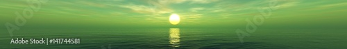 Poster Olive Panorama of sea sunset, sunrise. Baner.