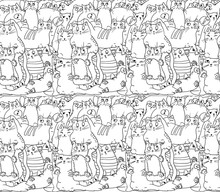 Seamless Pattern: White Cats On Black