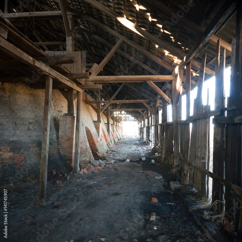 Spoed Fotobehang Oude verlaten gebouwen factory