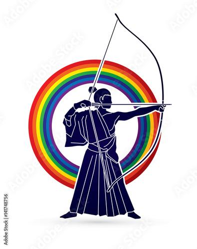Tuinposter Art Studio Man bowing Kyudo designed on rainbows background graphic vector.