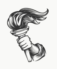 Human Hand With Torch Engraving Illustration