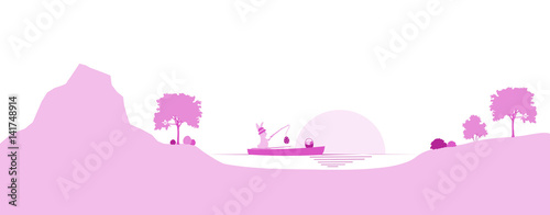 Happy Easter. Rabbit in a boat with fishing rod and eggs in a pink landscape.