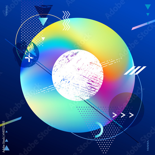 Abstract geometric neon background. - 141752335