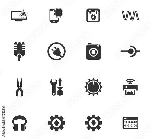 Electronics repair icons set Wallpaper Mural