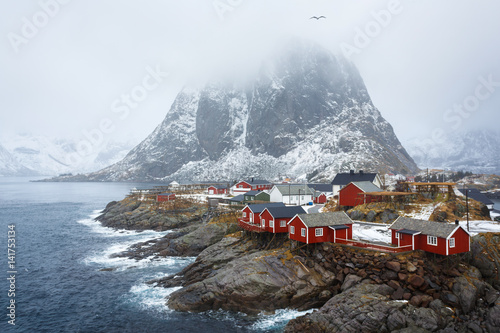 Deurstickers Noord Europa Hamnoy village in winter