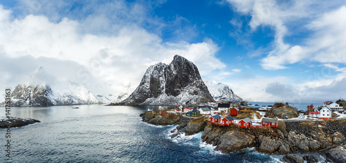 Poster Noord Europa Hamnoy village in winter