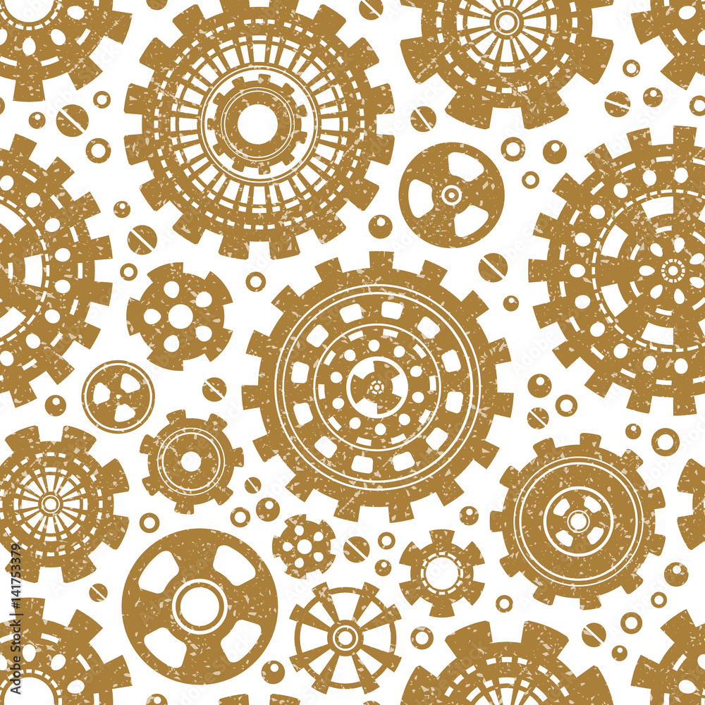 Gear weels retro vector seamless pattern