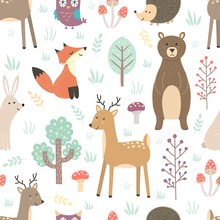 Forest Seamless Pattern With Cute Animals